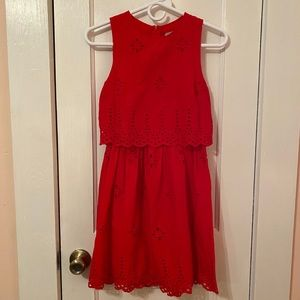 Red cotton mid length dress by ASOS size 4